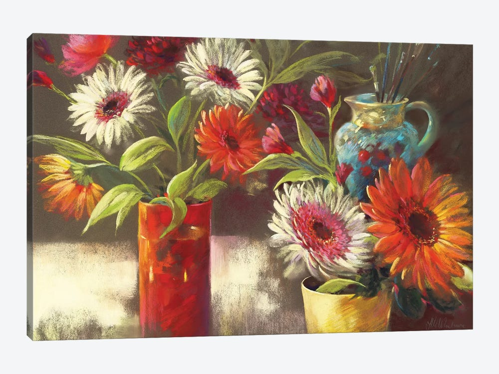 Blooms And Brushes by Nel Whatmore 1-piece Canvas Artwork