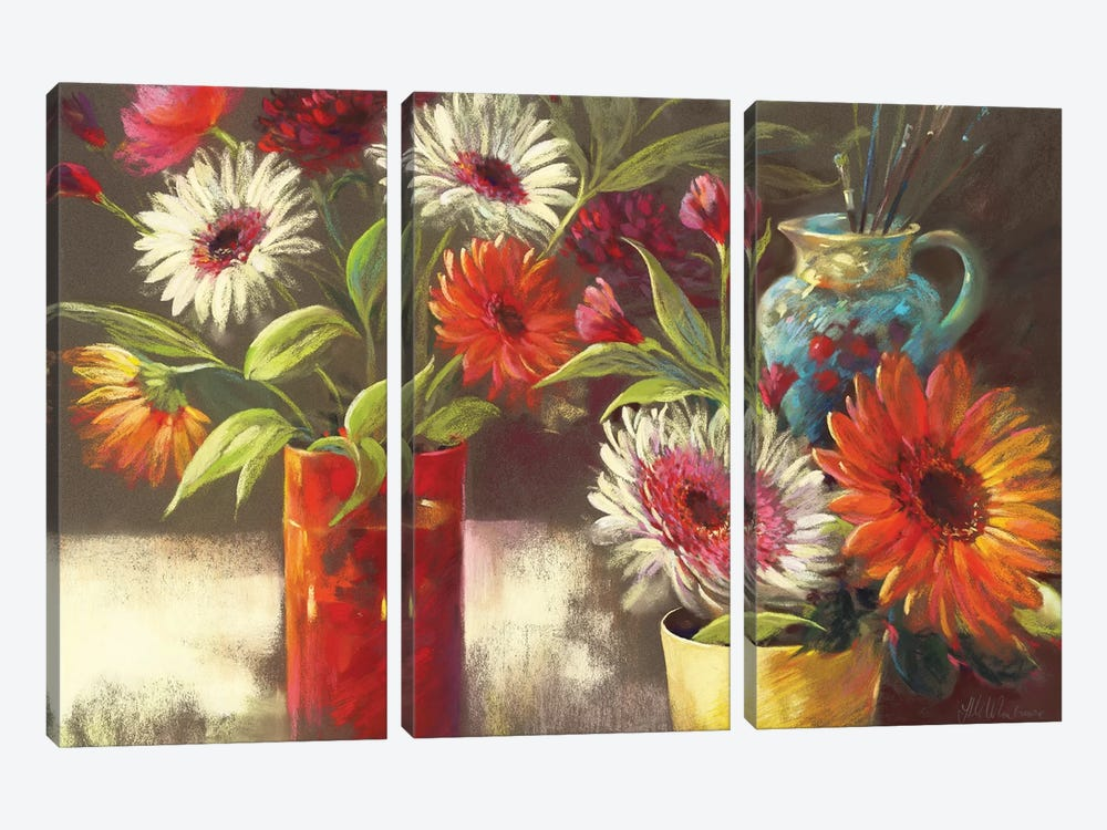 Blooms And Brushes by Nel Whatmore 3-piece Canvas Art