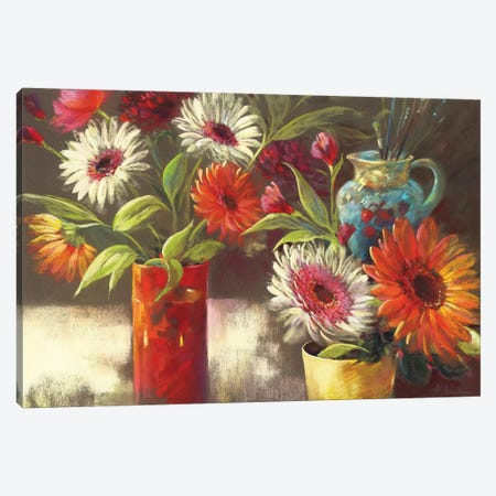 Blooms And Brushes Canvas Print #NWM7} by Nel Whatmore Canvas Art Print