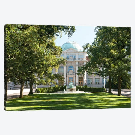 Fountain Of Life & Library Building Canvas Print #NYB10} by New York Botanical Garden Portfolio Canvas Wall Art