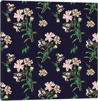 Flowers on Dark Background Canvas Art Print