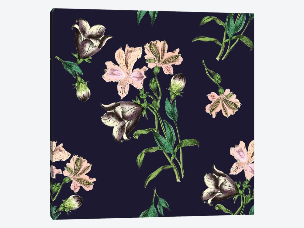 Pink Flowers On Dark Background 1-piece Art Print