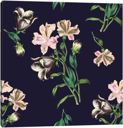 Pink Flowers On Dark Background Canvas Art Print