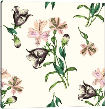 Pink Flowers On Light Background Canvas Art Print
