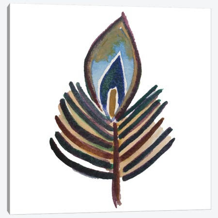 Single Peafowl Feather On Light Background Canvas Print #NYB45} by New York Botanical Garden Portfolio Canvas Artwork