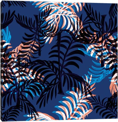 Blue Palms Canvas Art Print