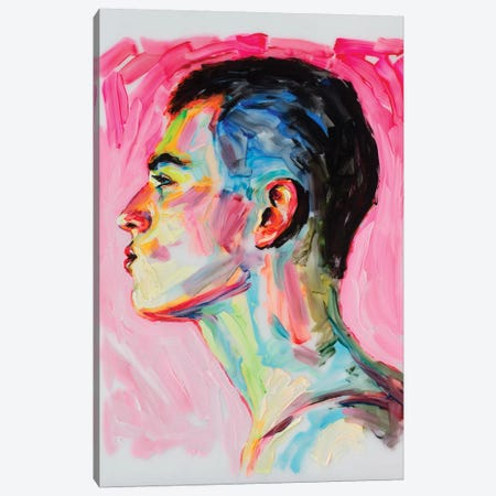 The Profile On A Pink Background Canvas Print #OBA108} by Oleksandr Balbyshev Canvas Artwork
