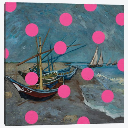 Fishing Boats With Pink Circles Canvas Print #OBA130} by Oleksandr Balbyshev Canvas Print