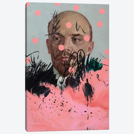 Lenin With Pink Circles Canvas Print #OBA133} by Oleksandr Balbyshev Canvas Print