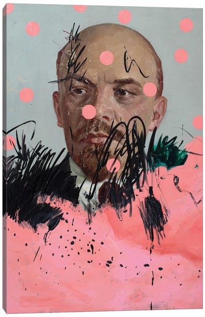 Lenin With Pink Circles Canvas Art Print
