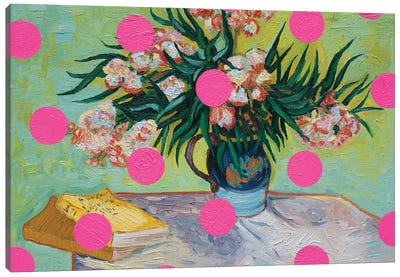 Oleanders With Pink Circles Canvas Art Print
