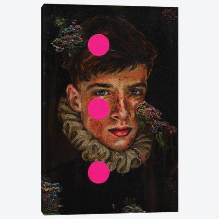 Portrait Of A Young Man With Pink Circles Canvas Print #OBA140} by Oleksandr Balbyshev Canvas Wall Art