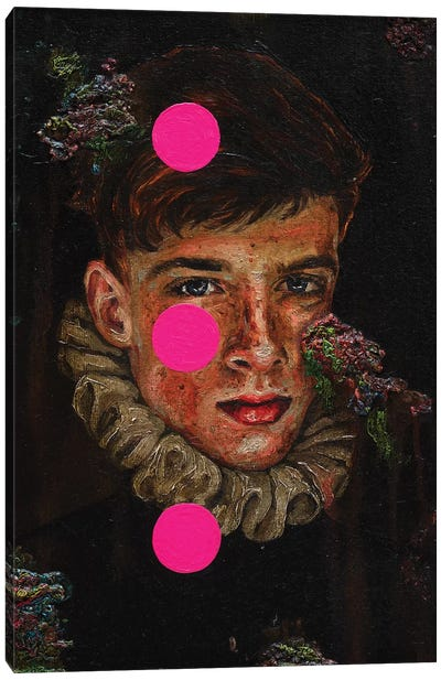 Portrait Of A Young Man With Pink Circles Canvas Art Print