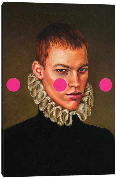 Portrait Of A Young Man With Three Pink Circles Canvas Art Print