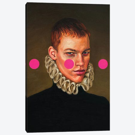 Portrait Of A Young Man With Three Pink Circles Canvas Print #OBA141} by Oleksandr Balbyshev Canvas Art