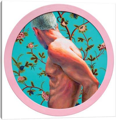 Boy On Turquoise Background Canvas Art Print