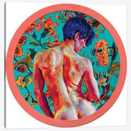 Blue-Haired Boy On Turquoise Background Canvas Print #OBA190} by Oleksandr Balbyshev Canvas Art Print