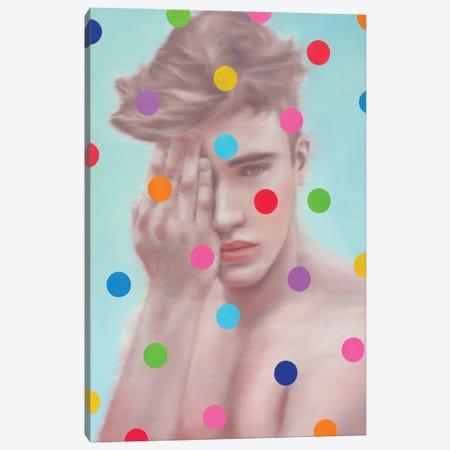 Retro Boy With Circles Canvas Print #OBA196} by Oleksandr Balbyshev Canvas Artwork