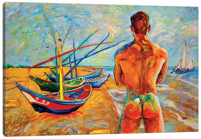 Bather With Fishing Boats Canvas Art Print