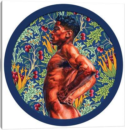 A Guy on the Blue Artichoke Background Canvas Art Print