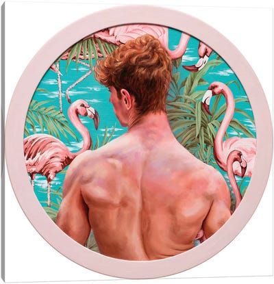 Flamingo Boy Canvas Art Print