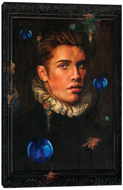 Gothic Portrait With Three Blue Balls Canvas Art Print