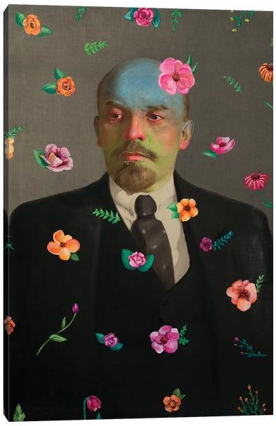 Lenin With Flowers Canvas Art Print