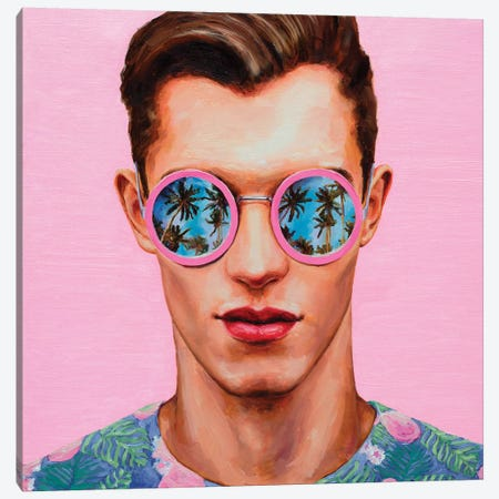 Pink Sunglasses Canvas Print #OBA76} by Oleksandr Balbyshev Canvas Wall Art