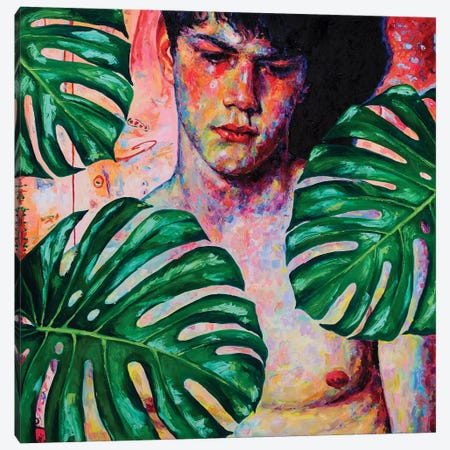 Sad Boy With Monstera Leaves Canvas Print #OBA86} by Oleksandr Balbyshev Art Print