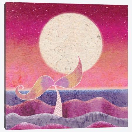 Mermaid Moon Canvas Print #OBK29} by Olivia Bürki Canvas Artwork