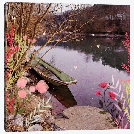 The Green Boat Canvas Print #OBK42} by Olivia Bürki Canvas Art
