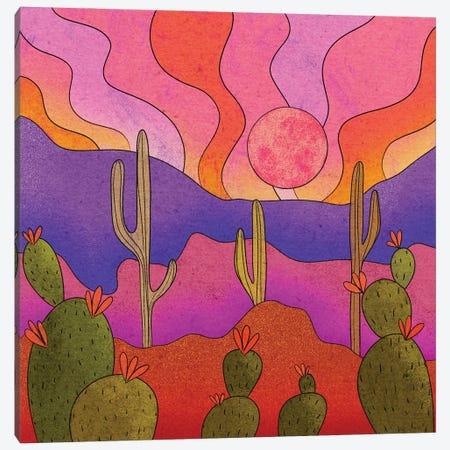 Blooming Cacti Canvas Print #OBK4} by Olivia Bürki Art Print