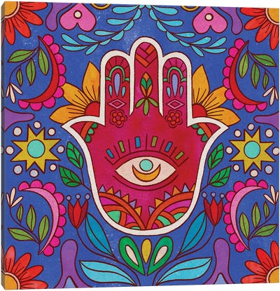 Colorful Hamsa Hand Canvas Art Print