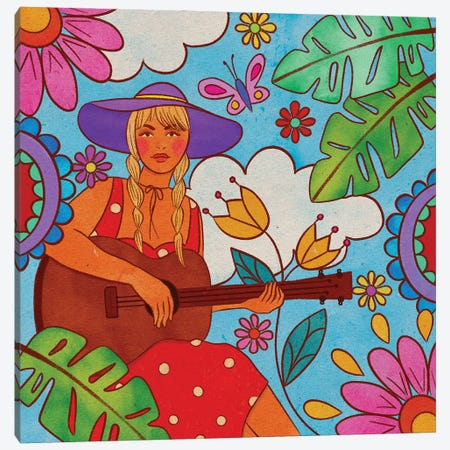 La Chica De La Guitarra Canvas Print #OBK61} by Olivia Bürki Canvas Artwork