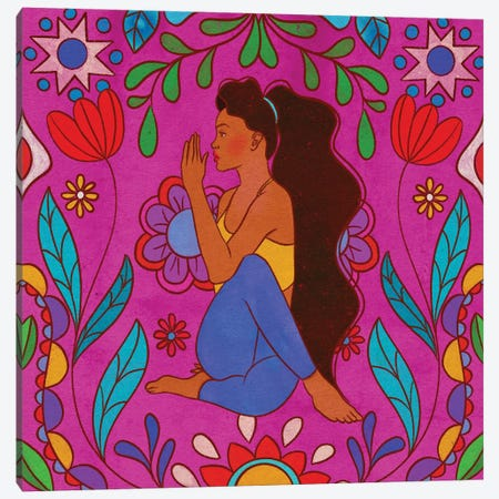 Colorful Yoga Canvas Print #OBK63} by Olivia Bürki Canvas Artwork