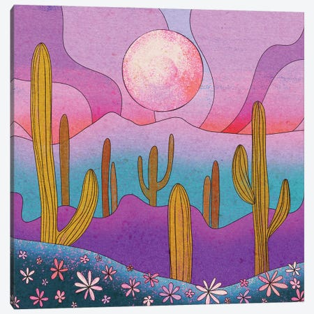Desert Flowers Canvas Print #OBK9} by Olivia Bürki Canvas Artwork
