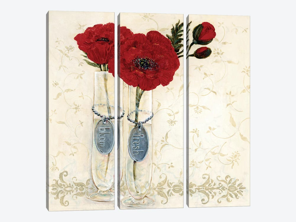 Inspired Red by O. Boem 3-piece Canvas Art Print