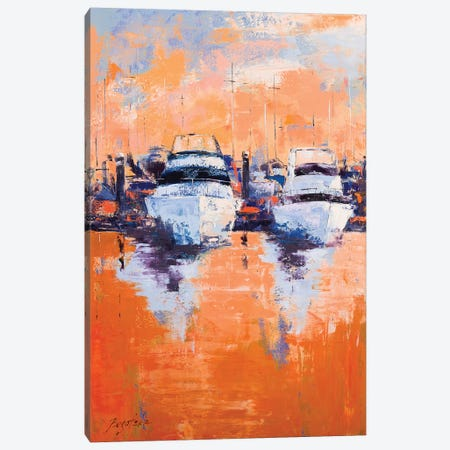 Evening Dock Canvas Print #OBO107} by Olena Bogatska Canvas Art