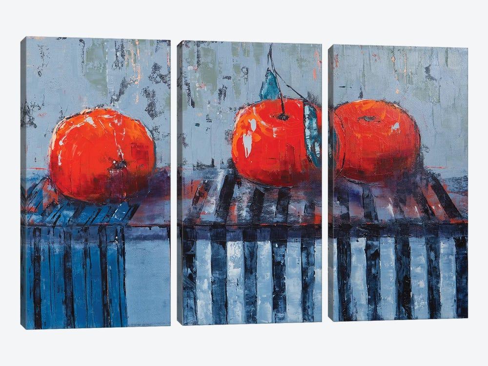 Fruits And Stripes by Olena Bogatska 3-piece Canvas Print