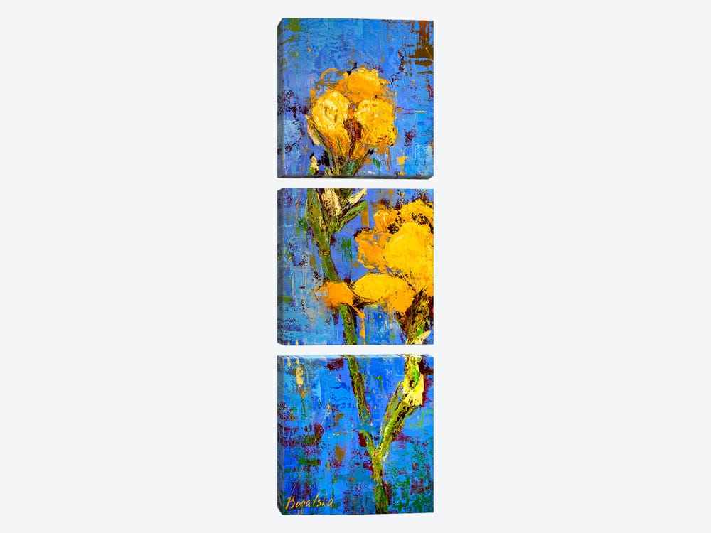 Gold Iris by Olena Bogatska 3-piece Canvas Art