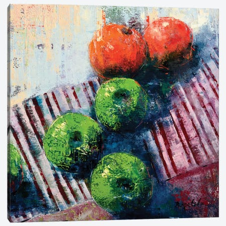 Green And Red Apples Canvas Print #OBO34} by Olena Bogatska Canvas Wall Art