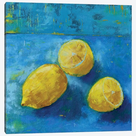 Lemons Canvas Print #OBO41} by Olena Bogatska Canvas Wall Art