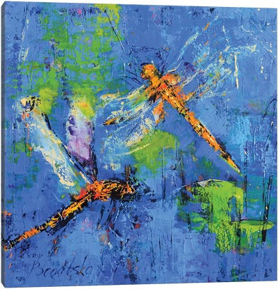 Orange Dragonflies Canvas Art Print