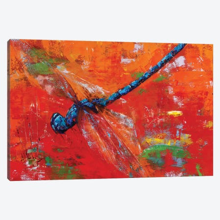 Blue Dragonfly Canvas Print #OBO88} by Olena Bogatska Canvas Artwork