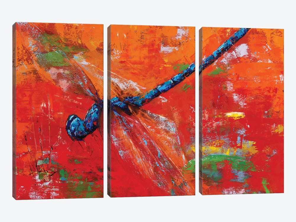 Blue Dragonfly 3-piece Canvas Art