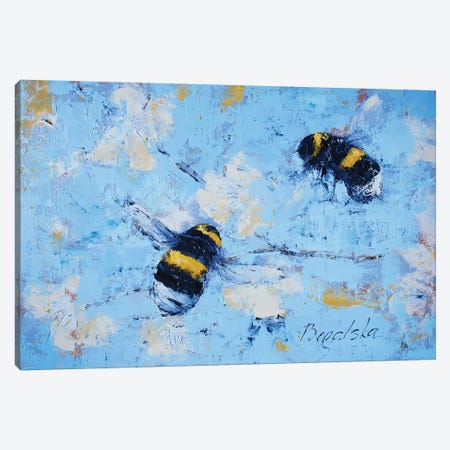 Bees And Blossoms Canvas Print #OBO8} by Olena Bogatska Canvas Art