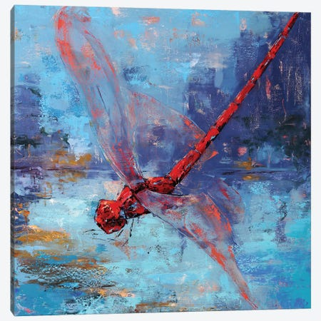 Red Dragonfly I Canvas Print #OBO95} by Olena Bogatska Canvas Artwork