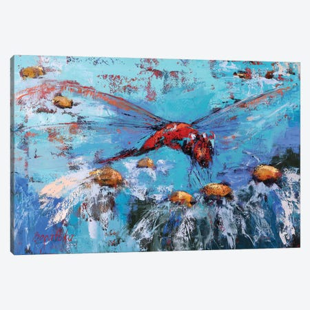Red Dragonfly II Canvas Print #OBO96} by Olena Bogatska Canvas Artwork