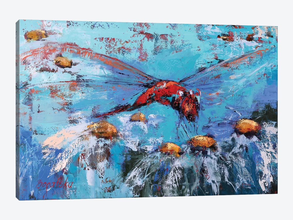 Red Dragonfly II by Olena Bogatska 1-piece Canvas Art Print
