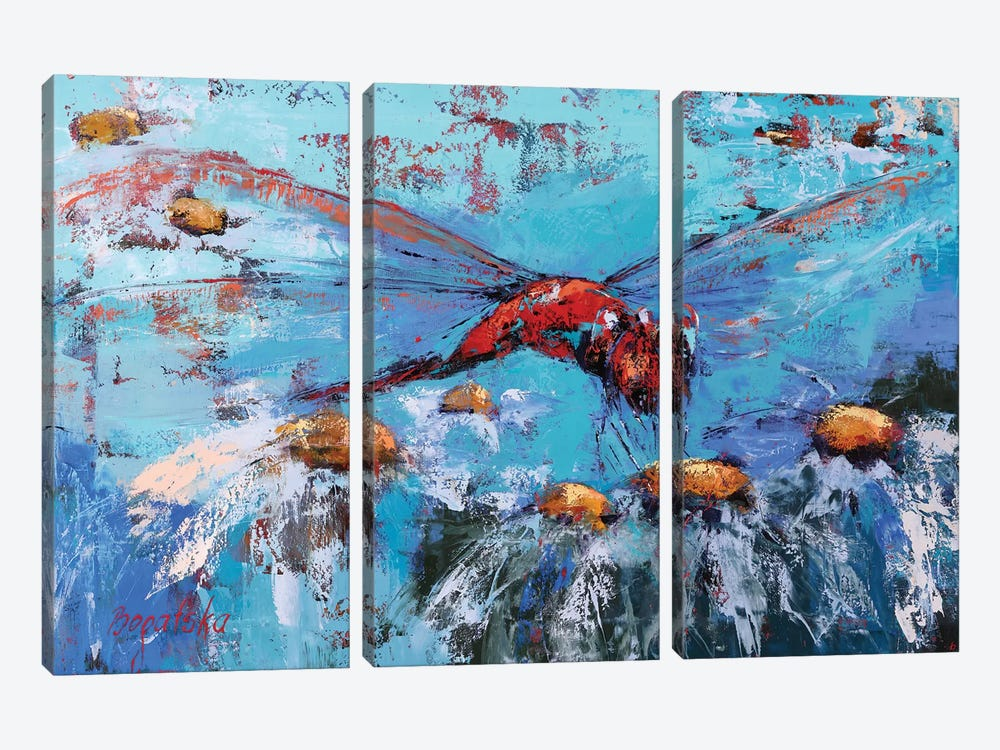 Red Dragonfly II by Olena Bogatska 3-piece Canvas Print